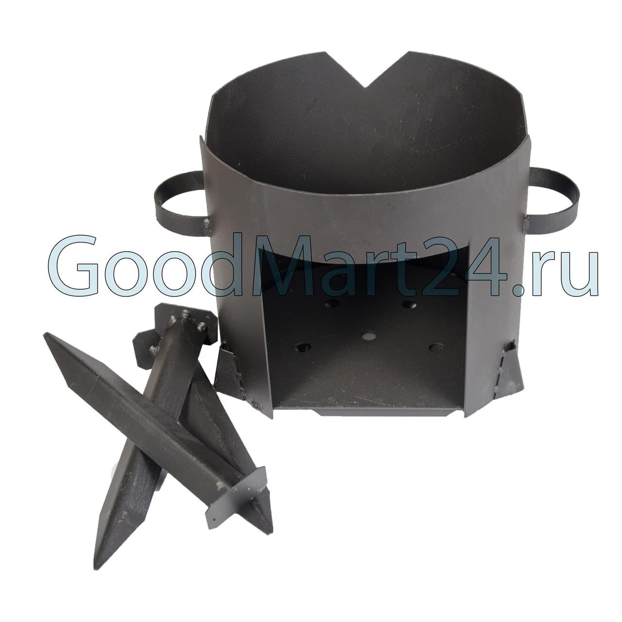 Чугунный казан 4 л. Балезинский ЛМЗ + Печь d-280 мм сталь 2 мм. - фото 4830