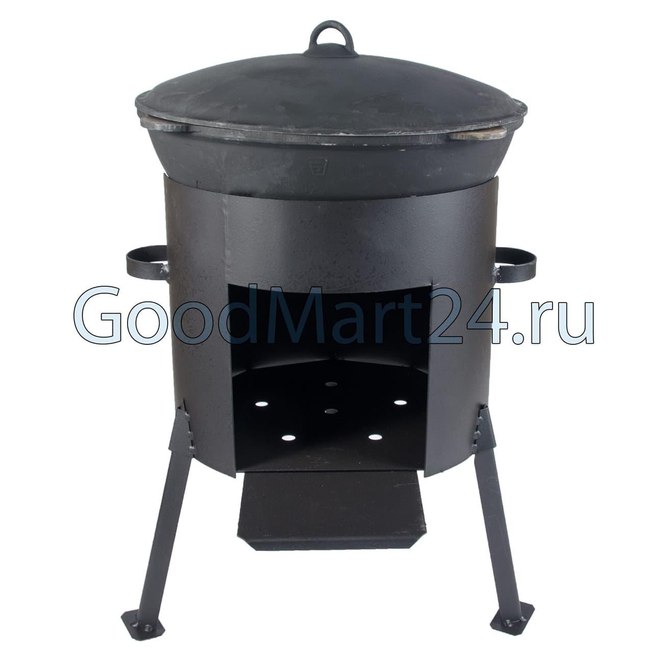 казан из чугуна 12 литров БЛМЗ + печь D-360 мм сталь 2 мм