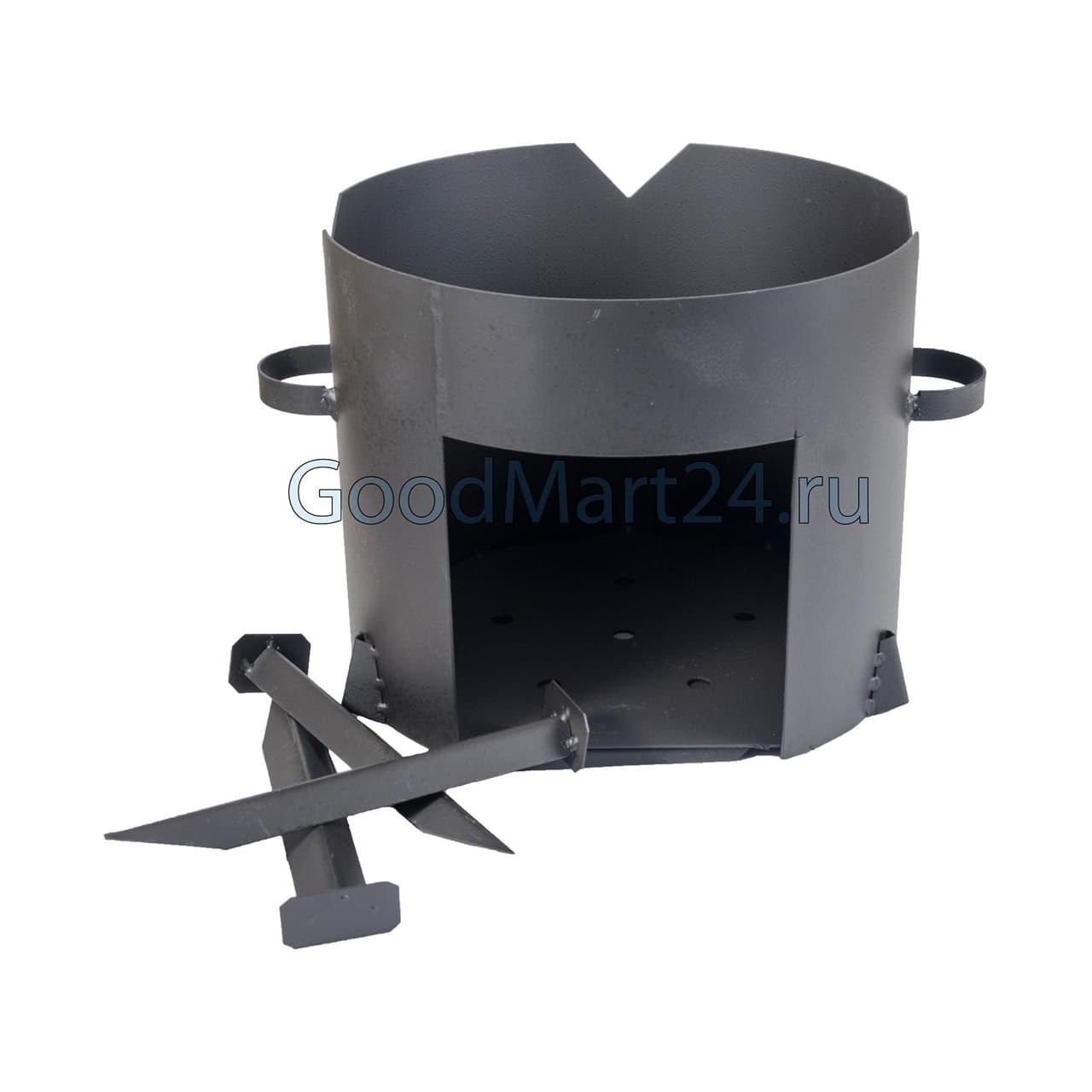 цена на комплект казан из чугуна 12 литров БЛМЗ + печь D-360 мм сталь 2 мм
