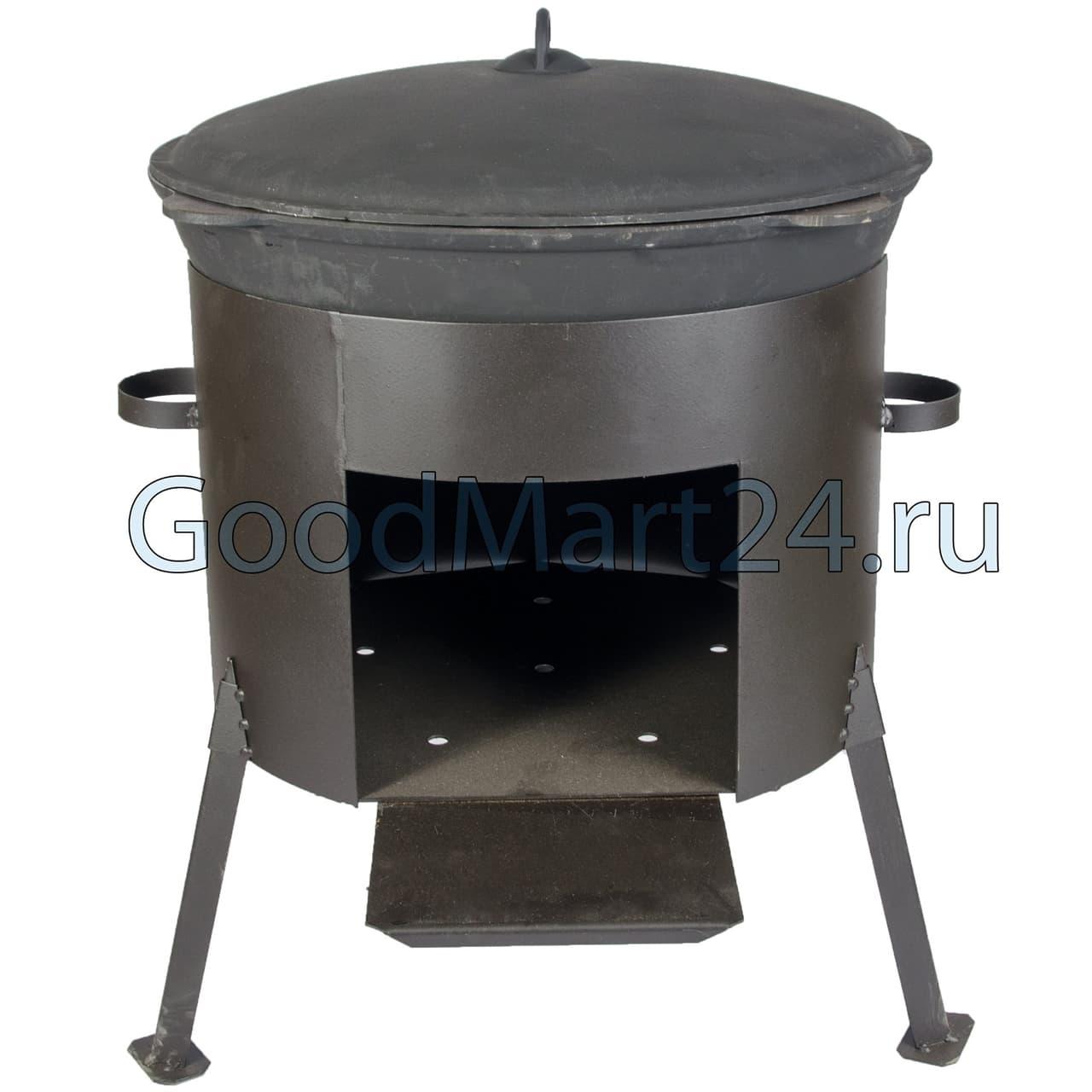 Чугунный казан 25 л. Балезинский ЛМЗ + Печь d-480 мм сталь 2 мм. - фото 4851