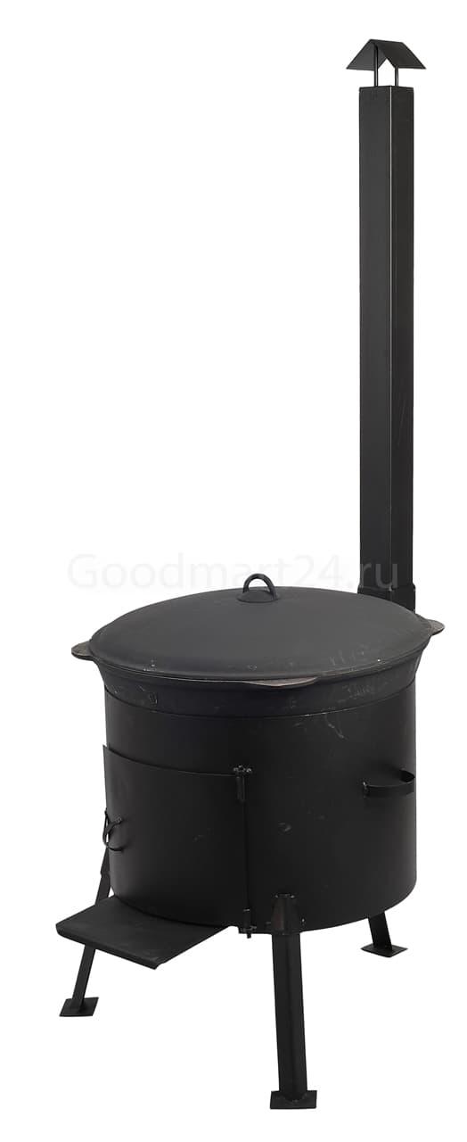 Чугунный казан 12 л. Балезинский ЛМЗ + Печь с трубой D-360 мм сталь 2 мм. - фото 4876