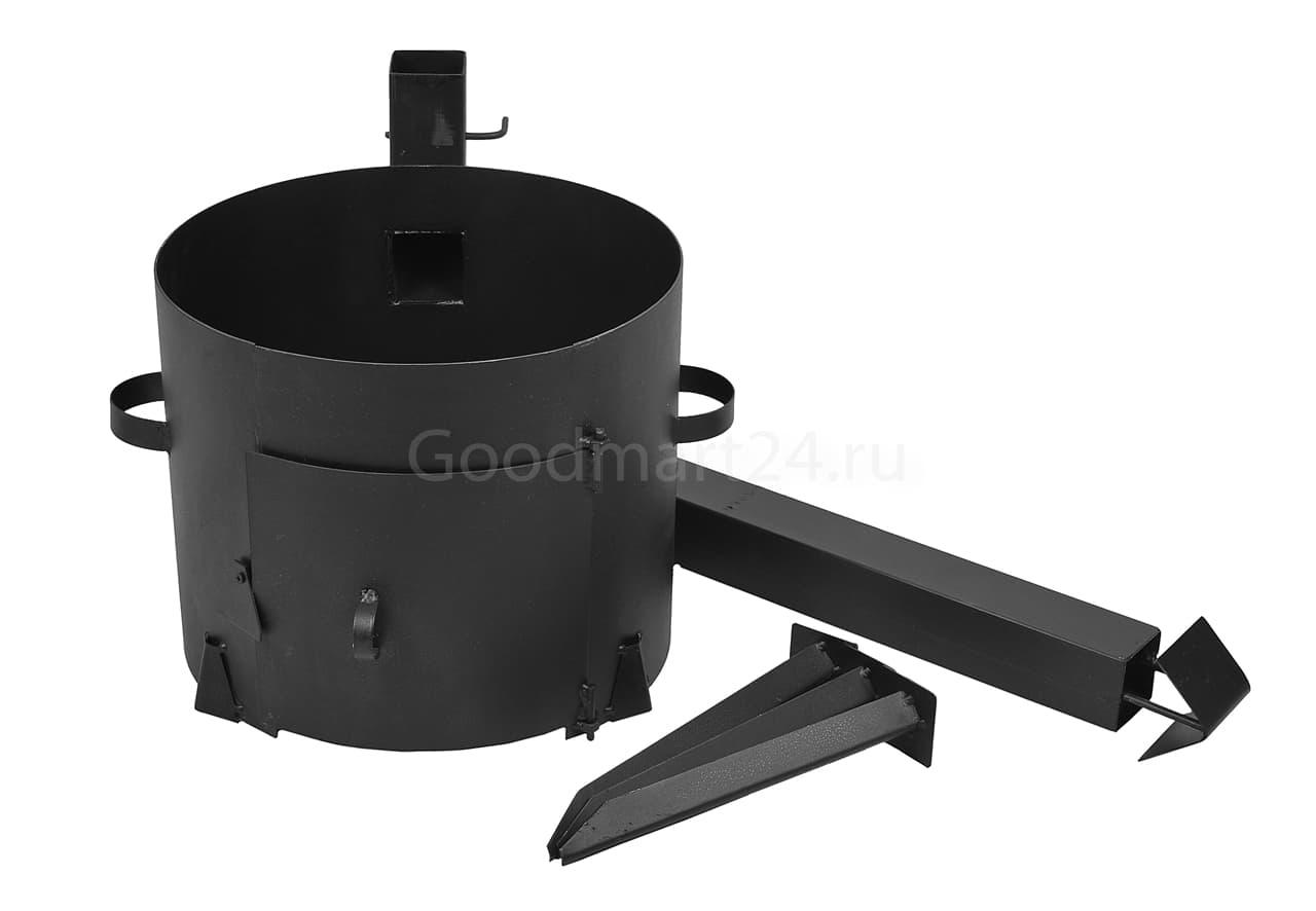 Чугунный казан 12 л. Балезинский ЛМЗ + Печь с трубой D-360 мм сталь 2 мм. - фото 4882