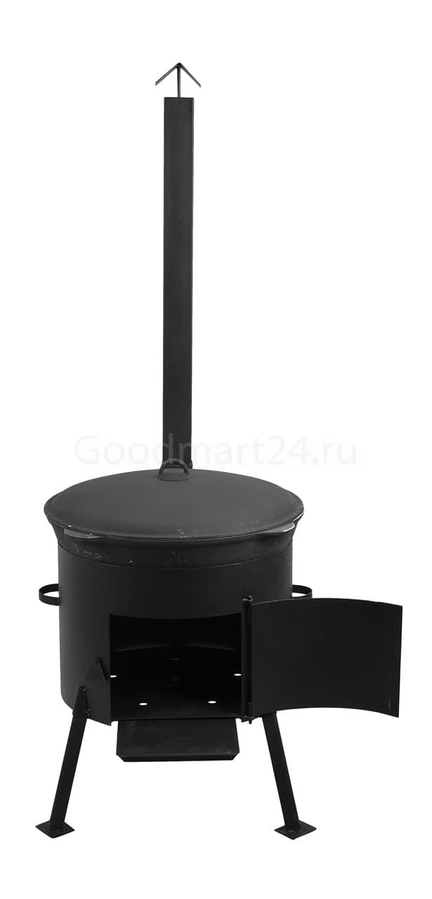 Чугунный казан 25 л. Балезинский ЛМЗ + Печь с трубой D-480 мм сталь 2 мм. - фото 4896
