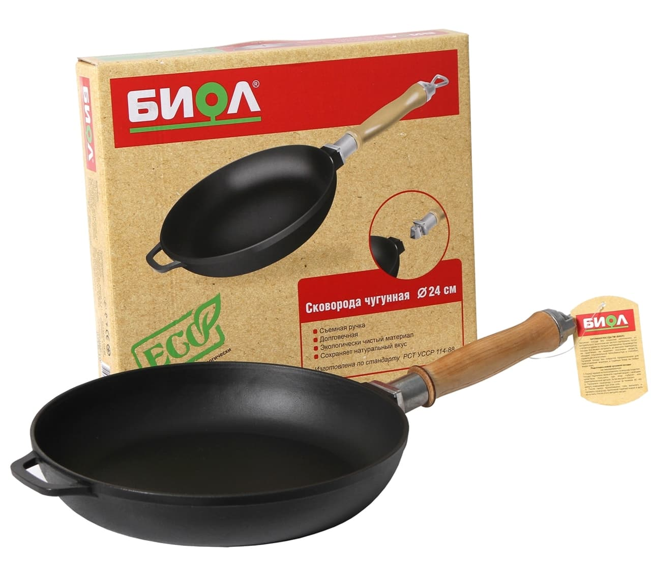 Чугунная сковорода 240х40 мм. с деревянной ручкой БИОЛ арт. 0124 - фото 4989