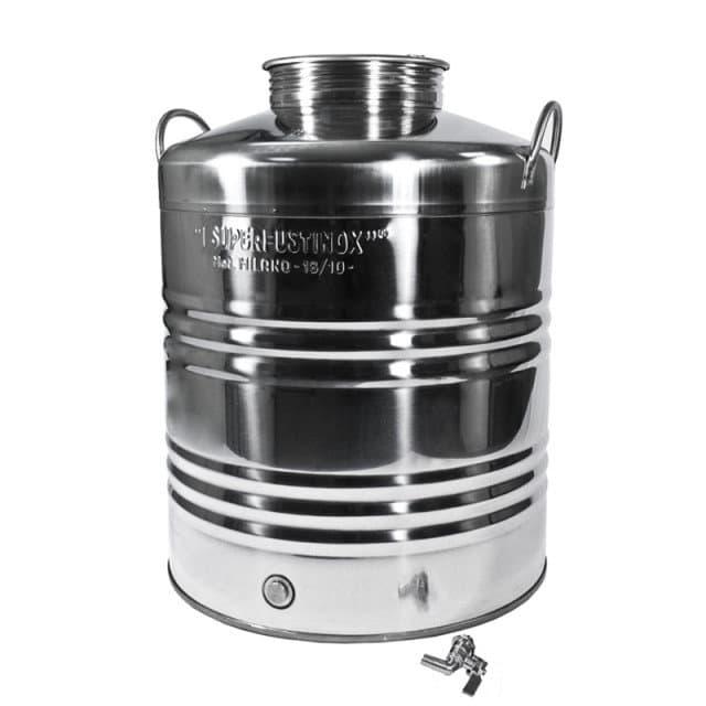 Традиционная бочка с краном на 100 литров из нержавеющей стали Sansone - фото 6098
