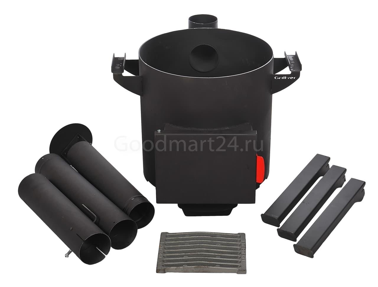 Узбекский чугунный казан 16 литров + печь c трубой, поддувалом Grillver 3 мм. - фото 7187