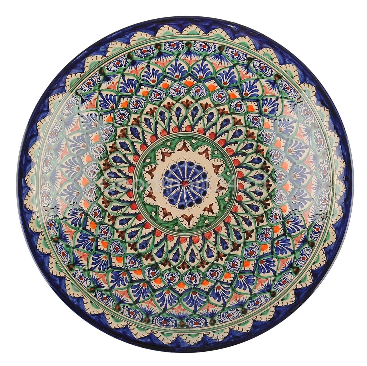 Ляган Риштанская Керамика 46 см. плоский, синий - фото 7333