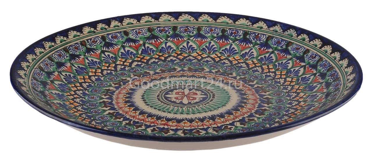 Ляган Риштанская Керамика 46 см. плоский, синий - фото 7335