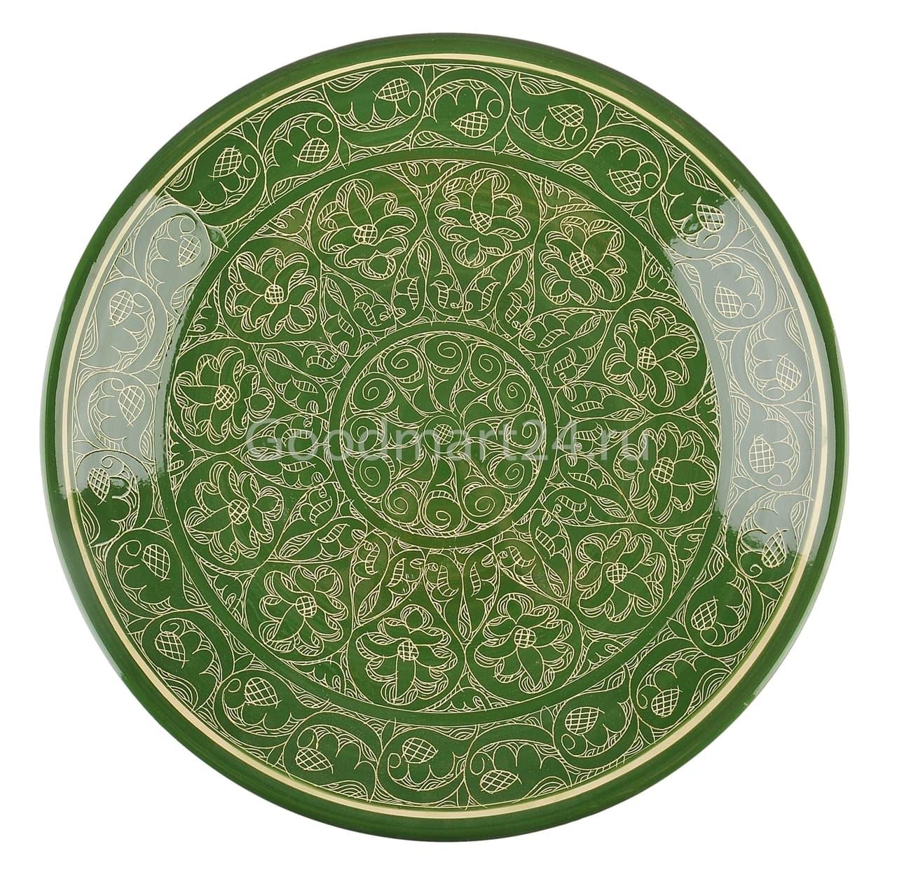 Ляган Риштанская Керамика 32 см. плоский, зеленый - фото 7337