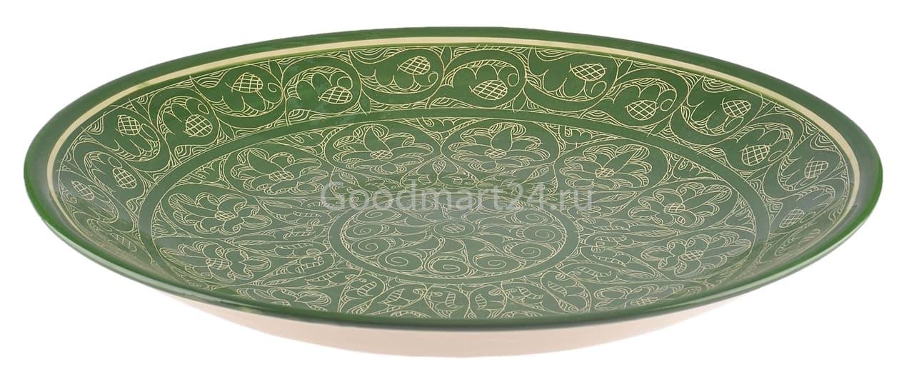 Ляган Риштанская Керамика 46 см. плоский, зеленый - фото 7348