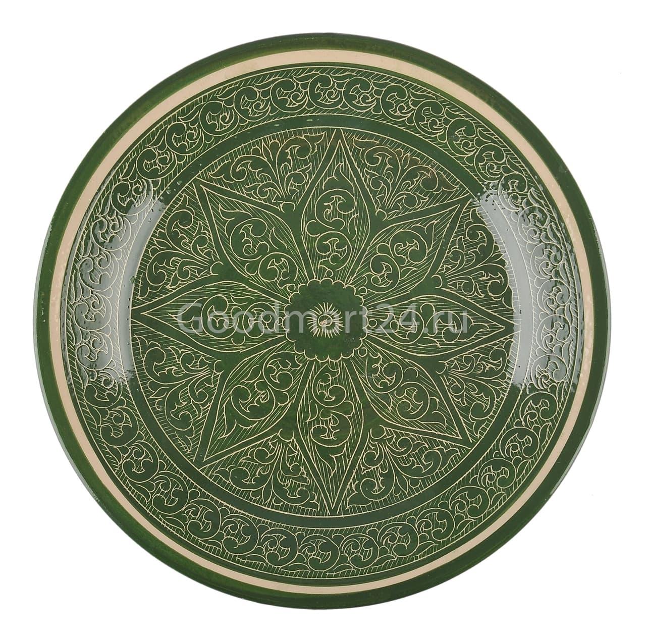 Ляган Риштанская Керамика 46 см. плоский, зеленый - фото 7350