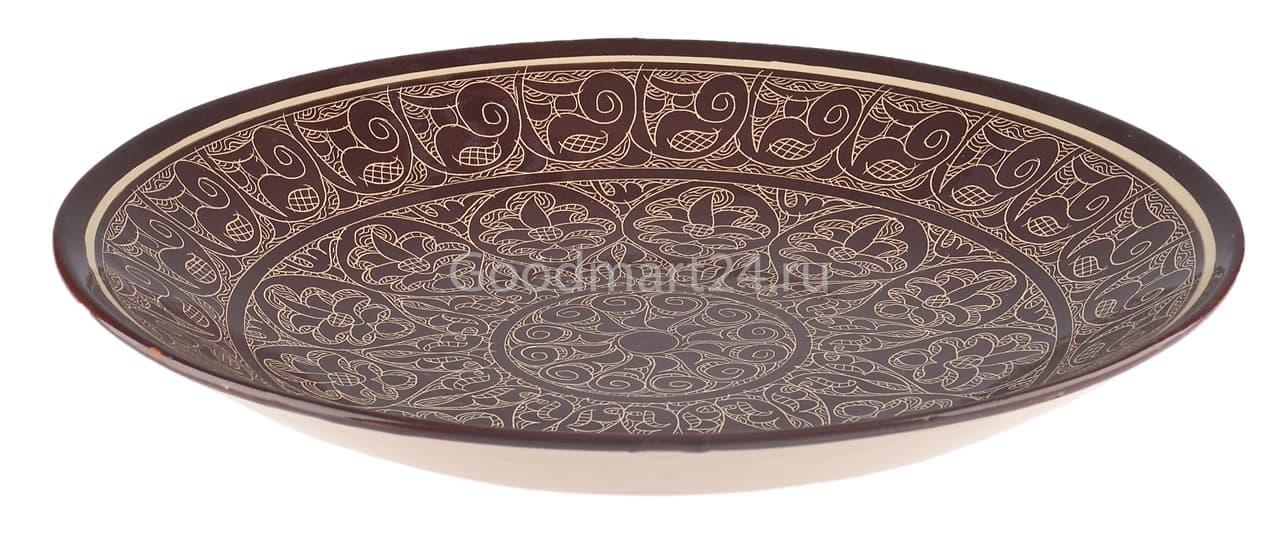 Ляган Риштанская Керамика 34 см. плоский, коричневый - фото 7355