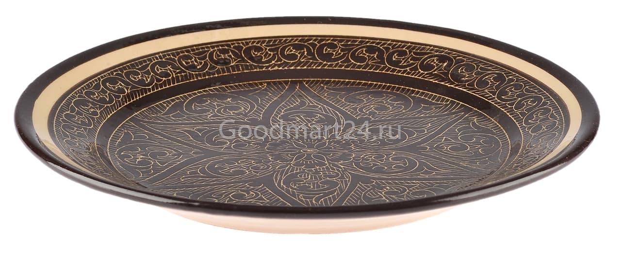 Ляган Риштанская Керамика 34 см. плоский, коричневый - фото 7356