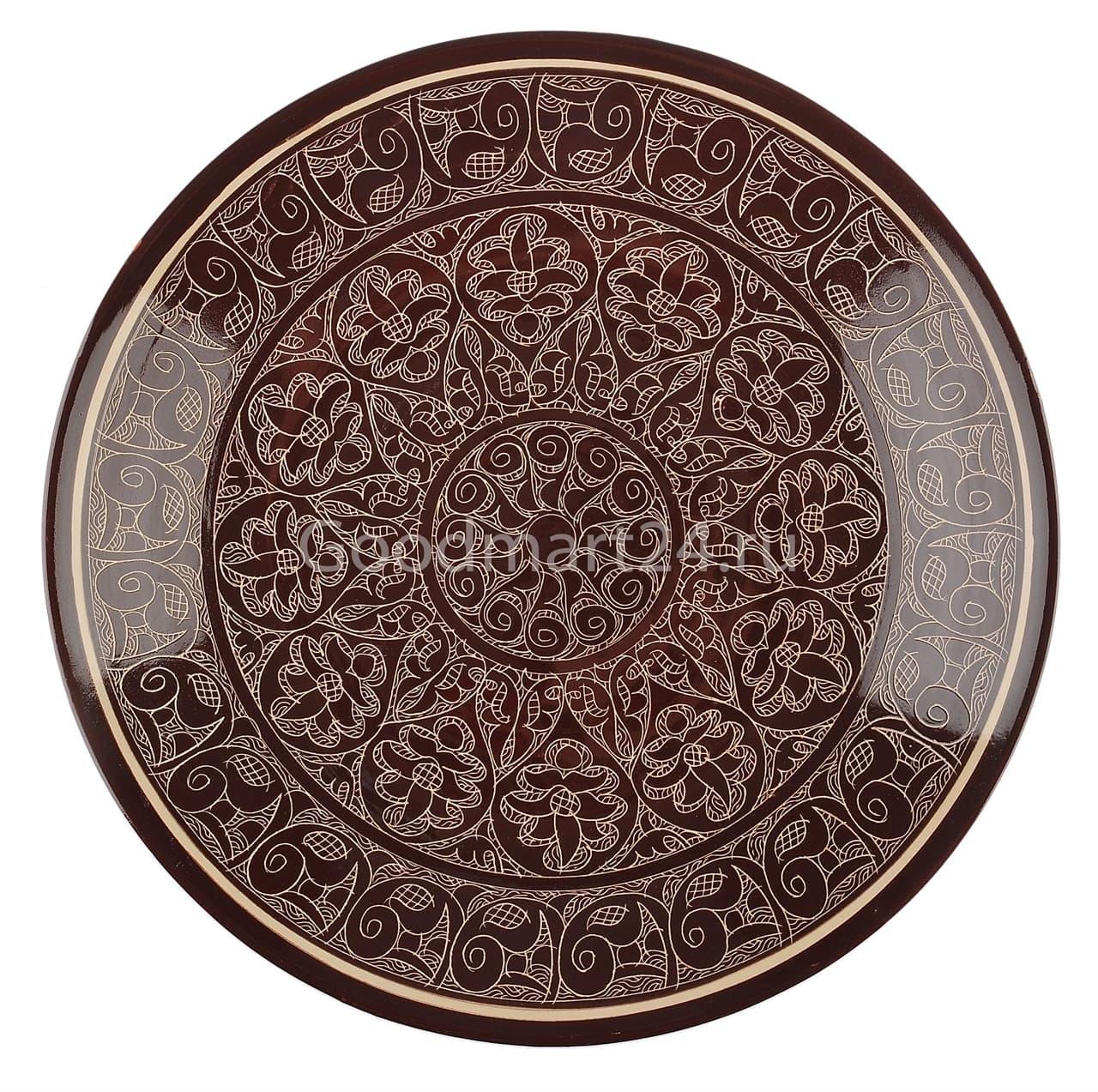 Ляган Риштанская Керамика 38 см. плоский, коричневый - фото 7357