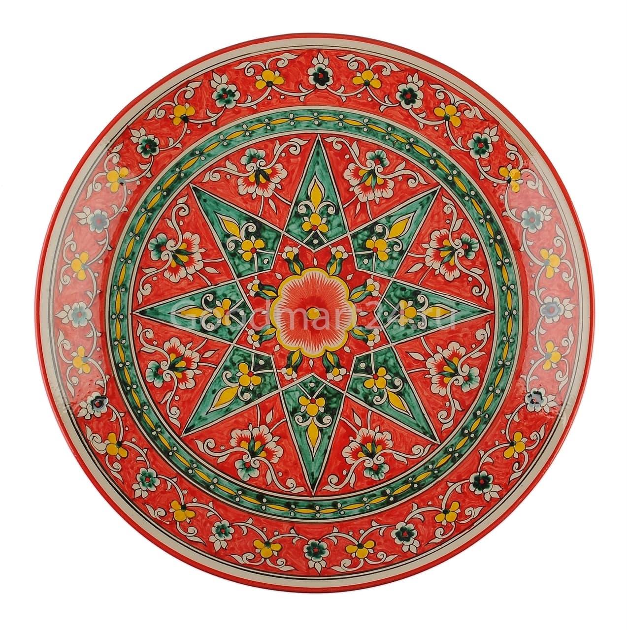 Ляган Риштанская Керамика 32 см. плоский, Qora galam - фото 7380