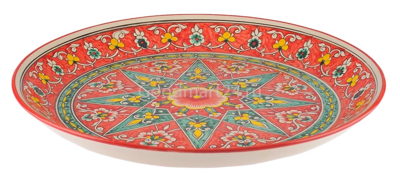 Ляган Риштанская Керамика 32 см. плоский, Qora galam - фото 7381