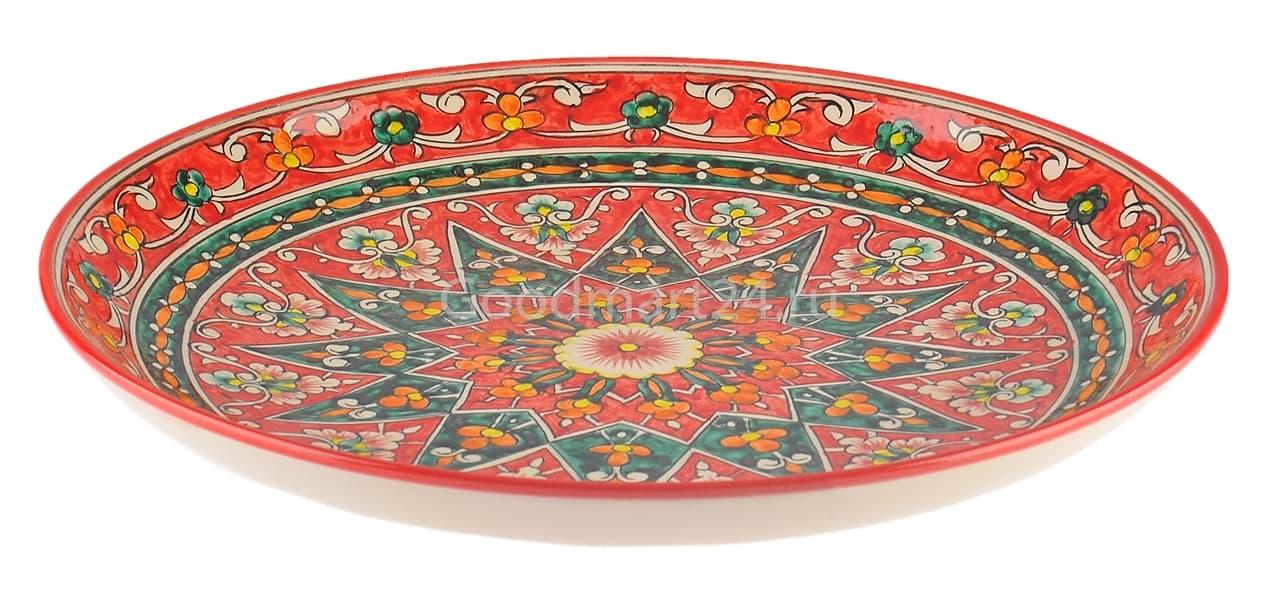 Ляган Риштанская Керамика 32 см. плоский, Qora galam - фото 7382