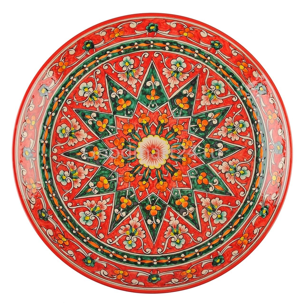 Ляган Риштанская Керамика 32 см. плоский, Qora galam - фото 7383
