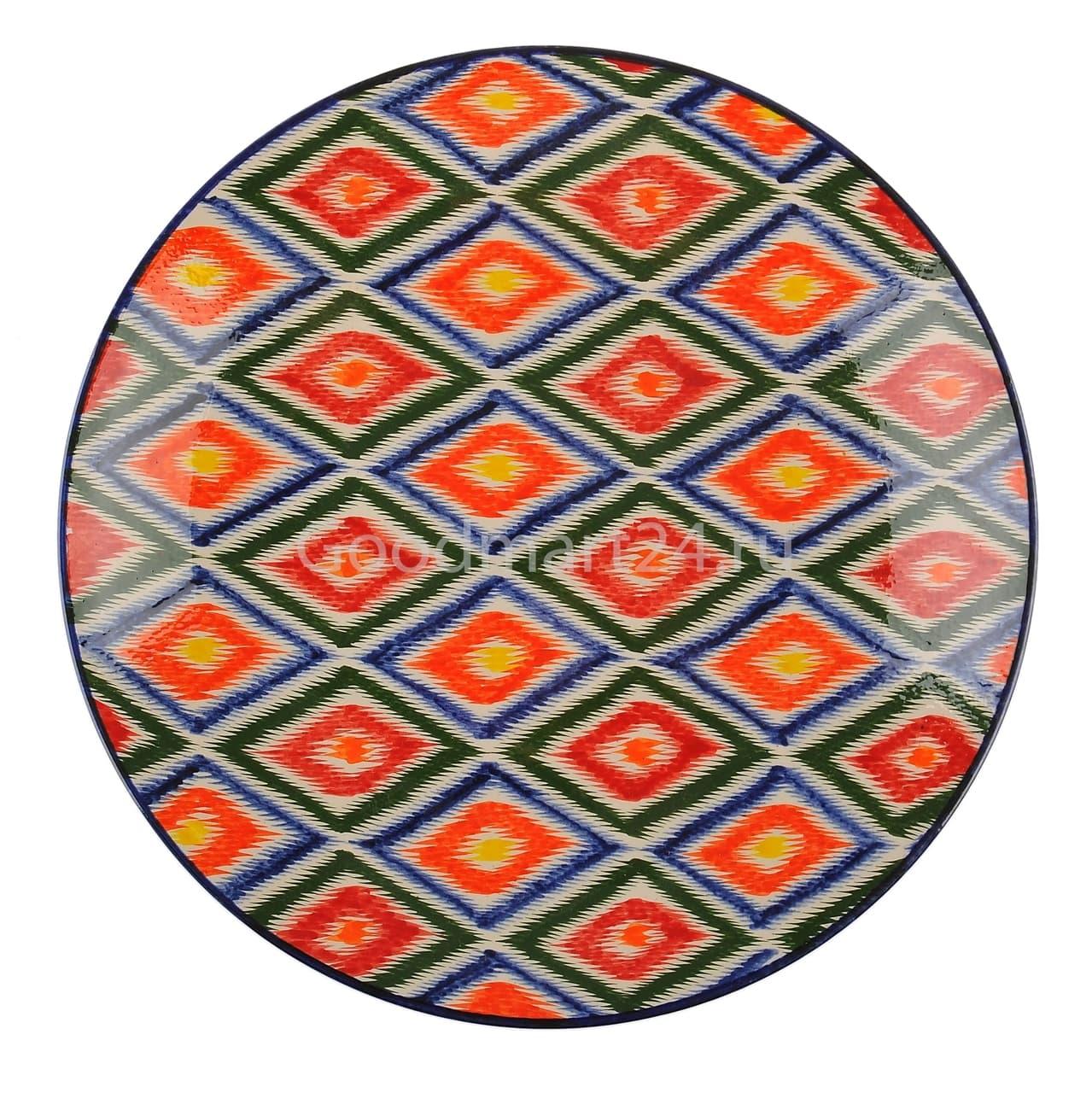 Ляган Риштанская Керамика 38 см. плоский, Атлас - фото 7415