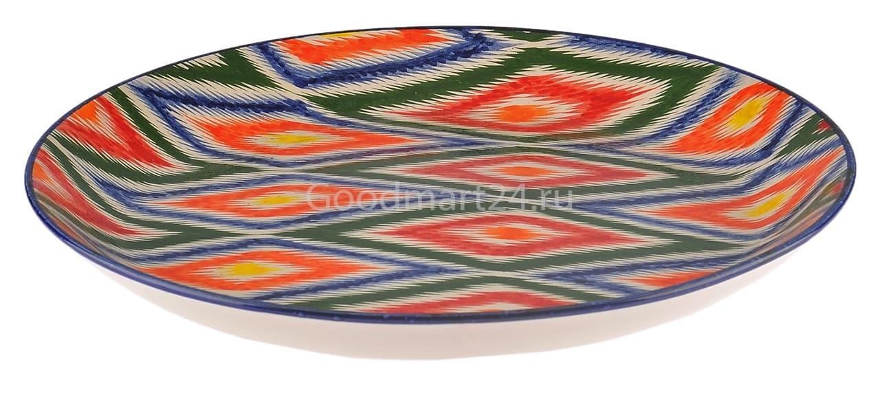 Ляган Риштанская Керамика 38 см. плоский, Атлас - фото 7417