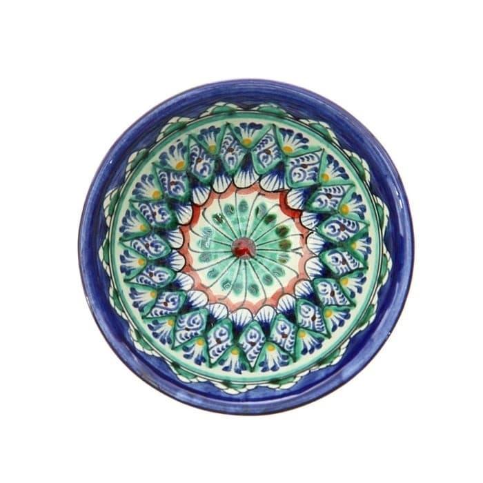 Пиала Риштанская Керамика средняя d-9 см. h-5 см. синяя - фото 7427