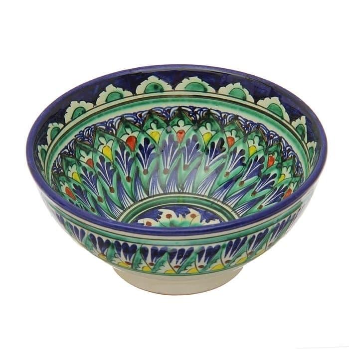 Коса для первых блюд Риштанская Керамика малая d-14,5 см. h-7 см. синяя - фото 7453