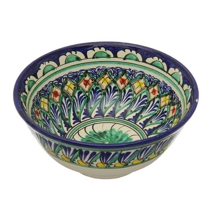 Коса для первых блюд Риштанская Керамика малая d-14,5 см. h-7 см. синяя - фото 7454