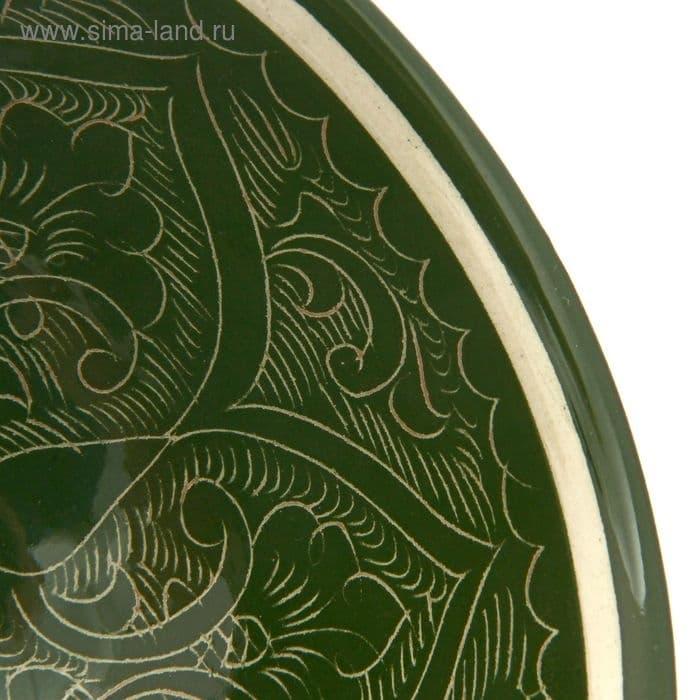 Коса для первых блюд Риштанская Керамика малая d-14,5 см. h-7 см. зеленая - фото 7461