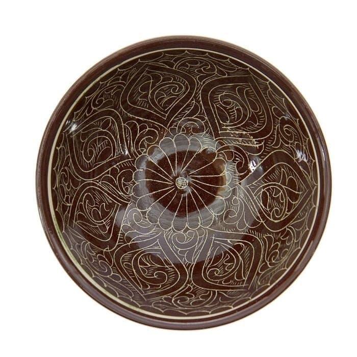 Коса для первых блюд Риштанская Керамика малая d-14,5 см. h-7 см. коричневая - фото 7470