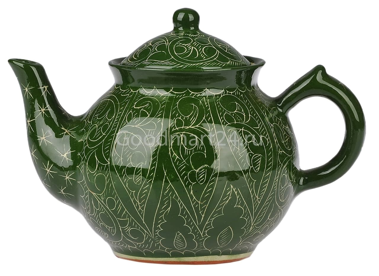 Чайник заварочный Риштанская Керамика 0.7 л. зеленый - фото 7477