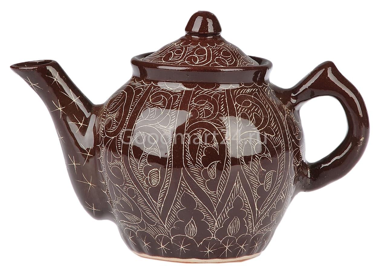 Чайник заварочный Риштанская Керамика 0.7 л. коричневый - фото 7480