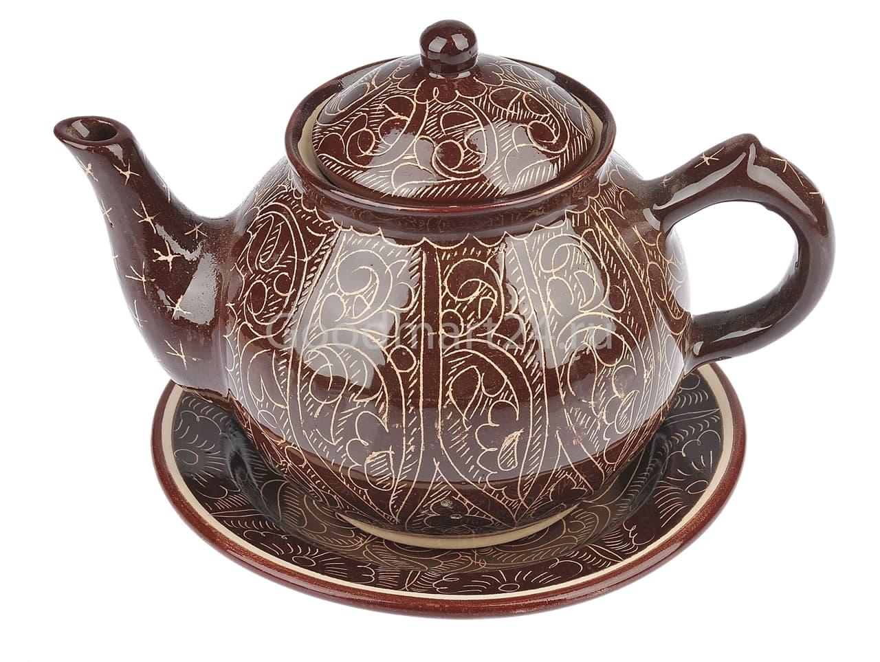 Чайник заварочный Риштанская Керамика 0.7 л. коричневый - фото 7481