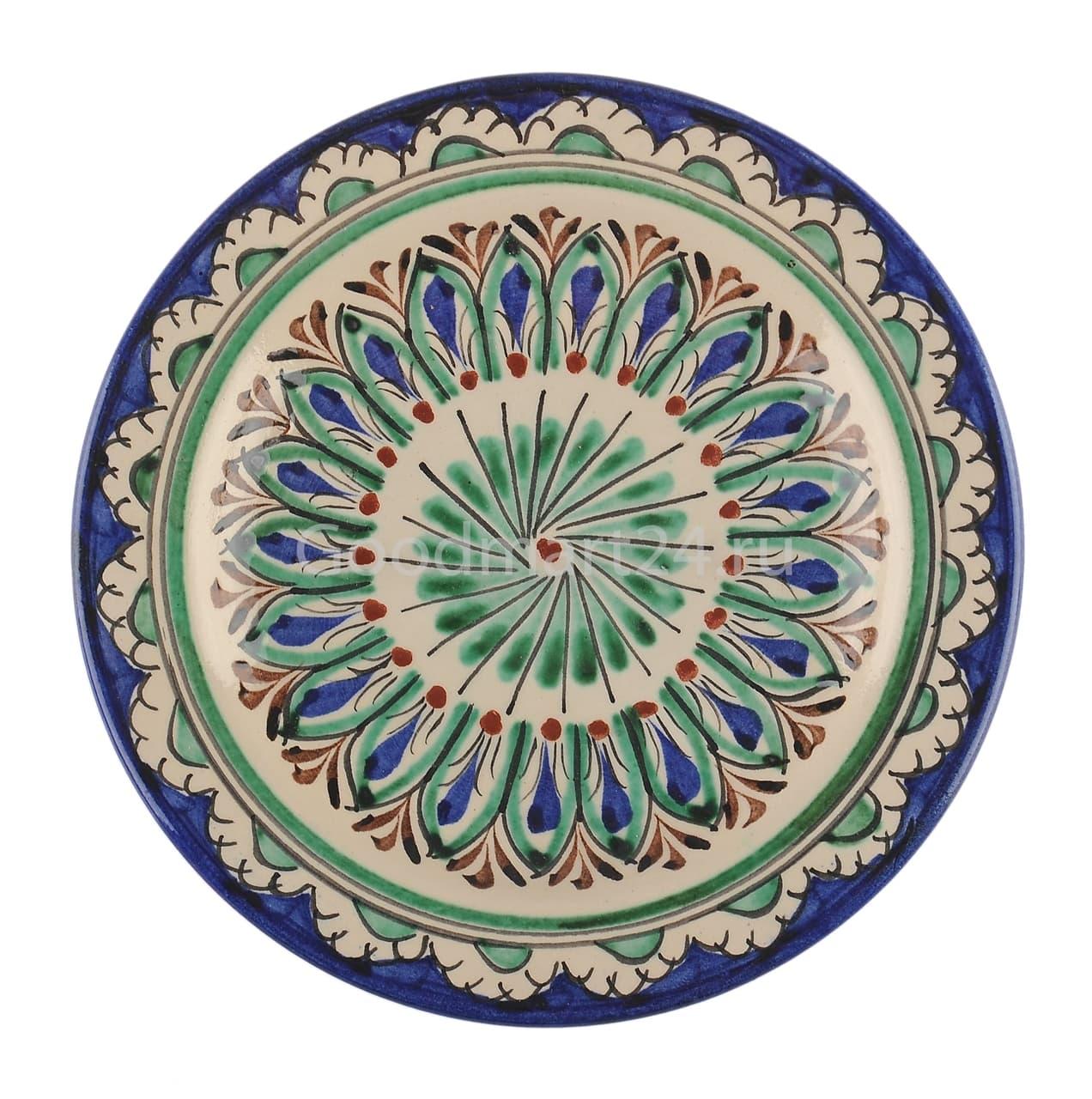 Тарелка плоская Риштанская Керамика 17 см. синяя - фото 7488
