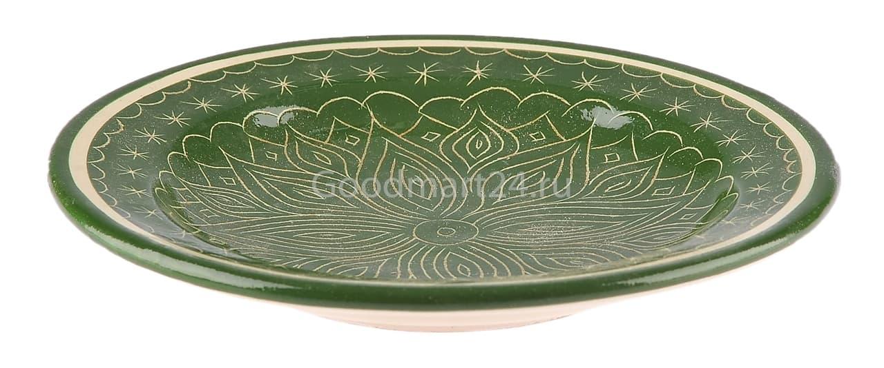 Тарелка плоская Риштанская Керамика 25 см. зеленая - фото 7503