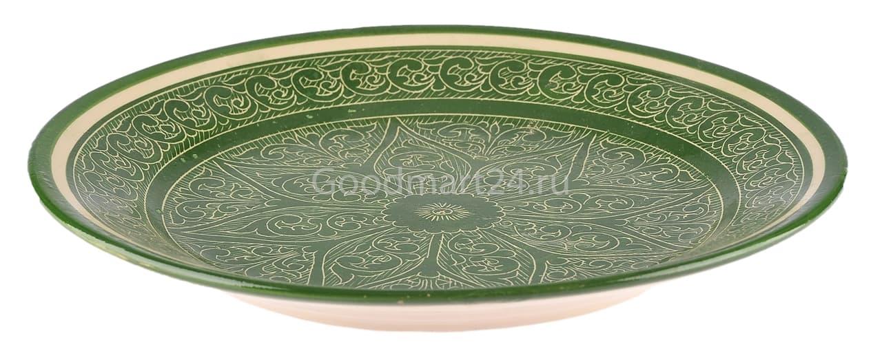Тарелка плоская Риштанская Керамика 25 см. зеленая - фото 7504