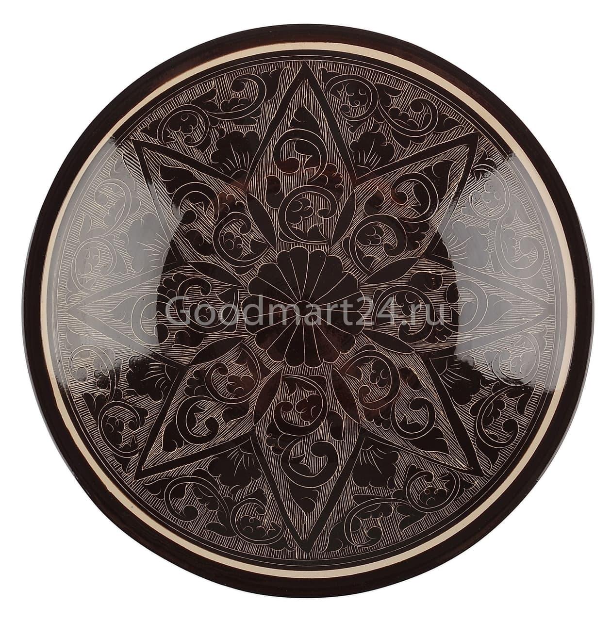 Тарелка глубокая Риштанская Керамика 19 см. коричневая - фото 7535