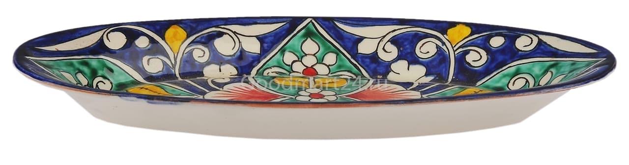 Селёдочница Риштанская Керамика 24 см, синяя - фото 7550