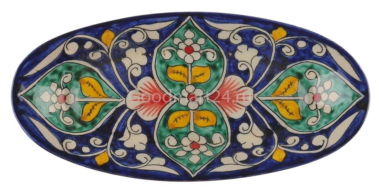 Селёдочница Риштанская Керамика 24 см, синяя - фото 7551