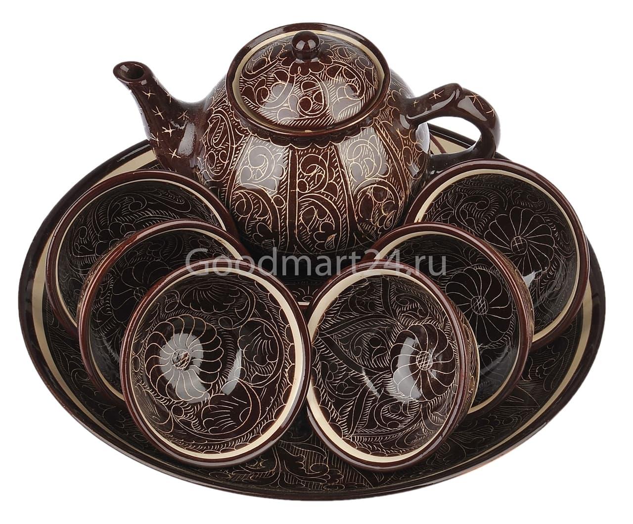 Набор чайный Риштанская Керамика, 9 предметов, коричневый - фото 7565