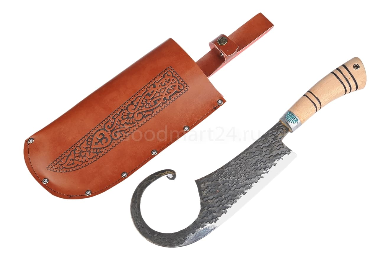 Топорик большой Гиймякеш, с ножнами, ШХ15 , гарда олово гравировка, ручка абрикос, 20-23 см. арт.42 - фото 8026