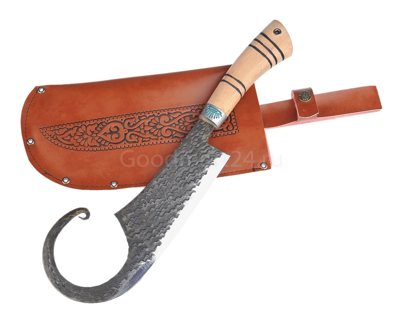 Топорик большой Гиймякеш, с ножнами, ШХ15 , гарда олово гравировка, ручка абрикос, 20-23 см. арт.42 - фото 8027