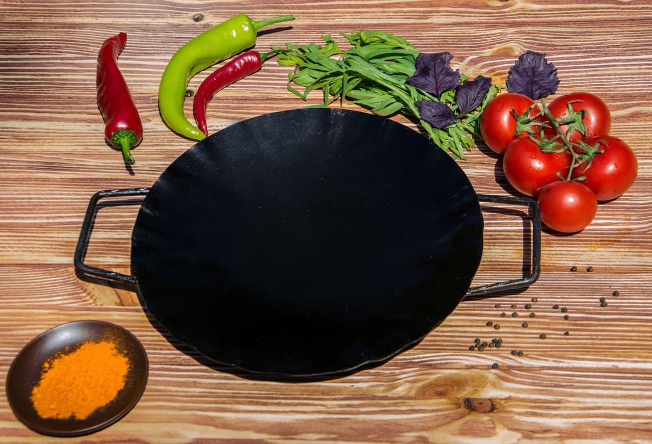 Садж сковорода 35 см, сталь + подставка кованная с ручкой - фото 8498