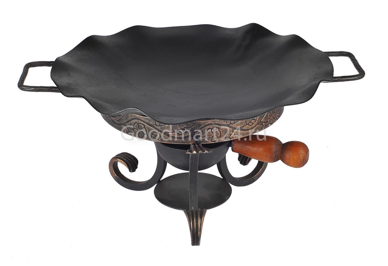 Садж сковорода 35 см, сталь + подставка кованная с ручкой - фото 8501