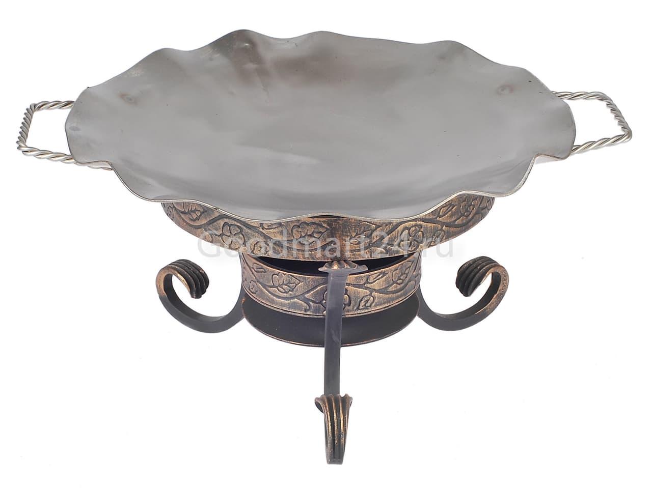 Садж сковорода 35 см, нержавеющая сталь + подставка кованная Шелковый путь - фото 8525