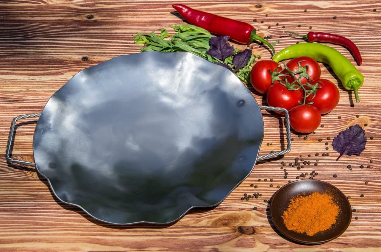 Садж сковорода 35 см, нержавеющая сталь + подставка кованная Шелковый путь - фото 8526