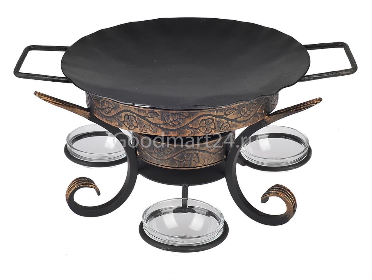 Садж сковорода 29 см, сталь + подставка кованная Шелковый путь премиум - фото 8534