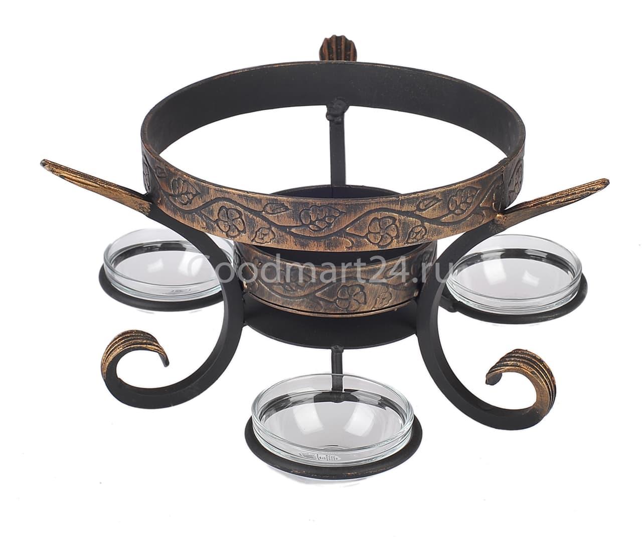 Садж сковорода 35 см, сталь + подставка кованная Шелковый путь премиум - фото 8540