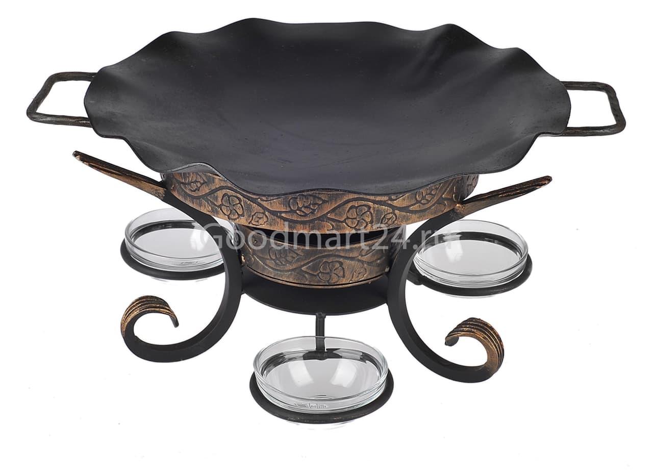 Садж сковорода 35 см, сталь + подставка кованная Шелковый путь премиум - фото 8541
