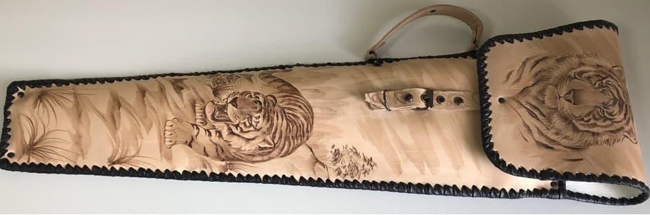 Набор шампуров Колчан Тигр, кожаный чехол, шампуры - фото 8728