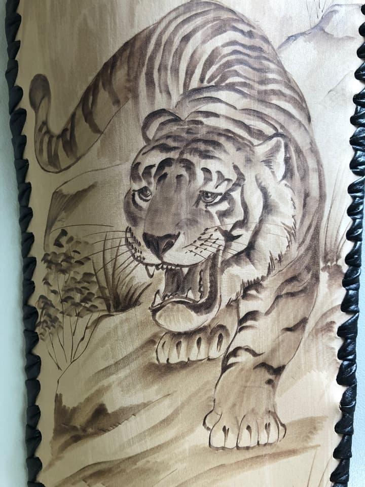 Набор шампуров Колчан Тигр, кожаный чехол, шампуры - фото 8729